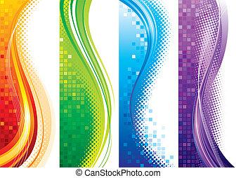 Design set of vertical modern backgrounds, vector layered.