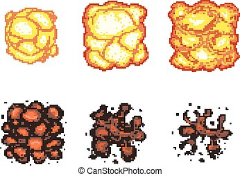 Video game explosion animation in pixel art