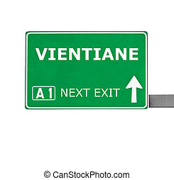 VIENTIANE road sign isolated on white