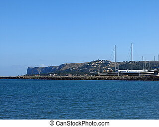 View from the harbour in Denia, Spain.