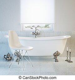 Vintage bathtub in modern interior