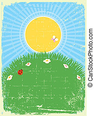 Vintage card background with summer landscape. Vector for text