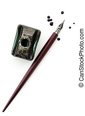 Vintage Nib Pen and Inkwell over White