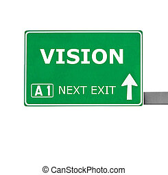VISION road sign isolated on white