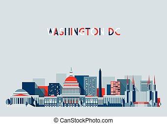 Washington DC Illustration Skyline Flat Design