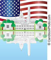Washington DC Landmarks Reflection with US Flag