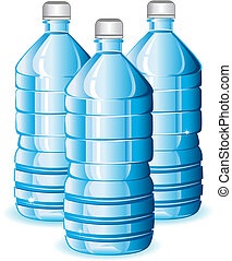 Isolated blue bottles of clean water for design