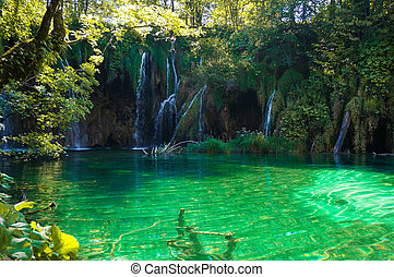 waterfalls at Plitvice Lakes with green water