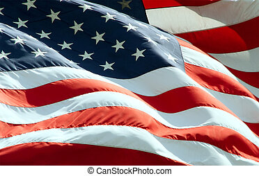 Close up view of American Flag waving in the wind.