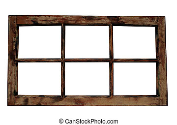 An old isolated wooden window frame.