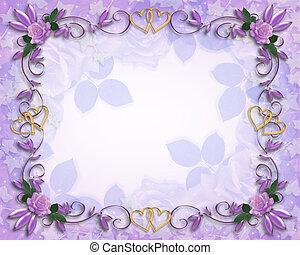 Wedding invitation border Lavender roses