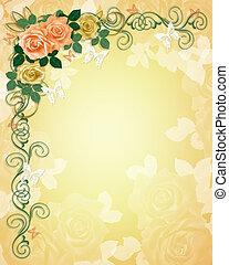 Wedding Invitation Roses Border
