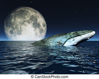 Whale on oceans surface with full moon