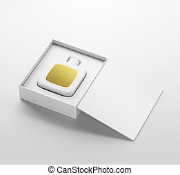 White fragrance perfume bottle mockup