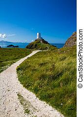 White lighthouse on Llanddwyn Island, Anglesey