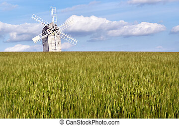 White windmill with field