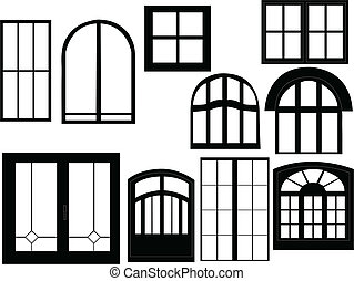 Window collection silhouette - vector