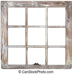 A rustic six pane window frame.