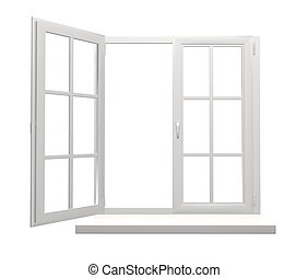 Window frame with one open and one closed flap