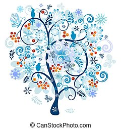 Winter tree with berries, birds and snowflake and butterflies isolated on a white background (vector)