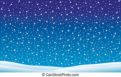 Winter landscape with falling snow - vector illustration