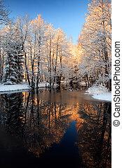 Winter river golden sunset