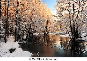 Winter river sunrise light