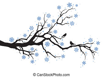 winter tree with snowflakes and birds, vector background