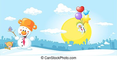 Winter urban landscape with funny snowman, cat and bird