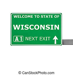 WISCONSIN road sign isolated on white
