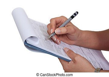 woman filling a form