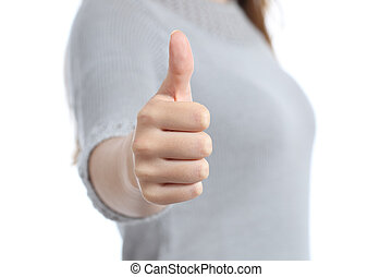 Woman hand gesturing thumbs up