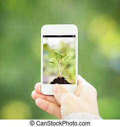 Woman hand holding smart phone against spring green background