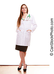 Woman medical doctor with stethoscope. Health care