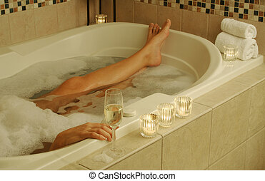Woman Relaxes in Bath