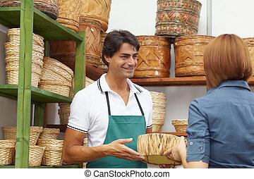 woman shopping in flower shop