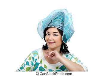 Woman wearing sky blue hat