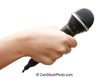 Woman hand holding a microphone on white background