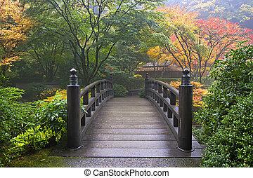 Wooden Bridge at Portland Japanese Garden Oregon in Autumn