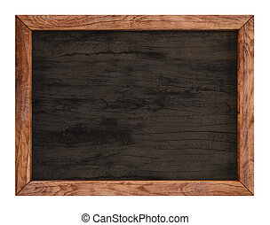 wooden menu board. isolated on white.