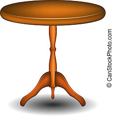 Round table in wooden design on white background
