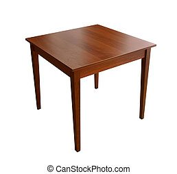 Wooden table with four legs, isolated on white background