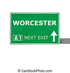 WORCESTER road sign isolated on white