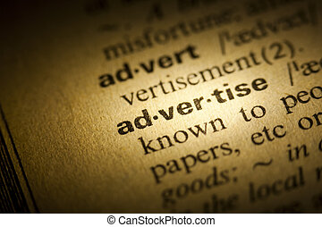Word Advertise in a dictionary