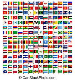 World flag icons set over white background