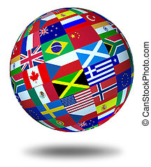 World flags sphere Floating