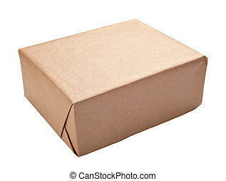 close up of a wrapped box on white background