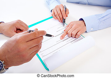 Hand with a pencil. Finance and accounting business background.