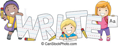 Illustration of Kids Learning How to Write