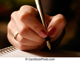 Young female is writing notes